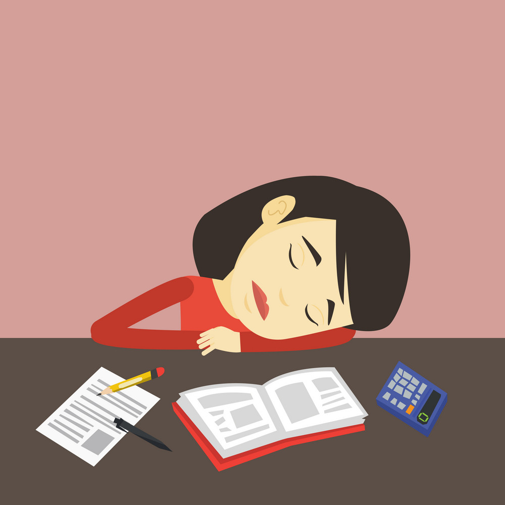 Fatigued asian student sleeping at the desk with books. Tired student sleeping after learning. Young woman sleeping among books at the table. Vector flat design illustration. Square layout.