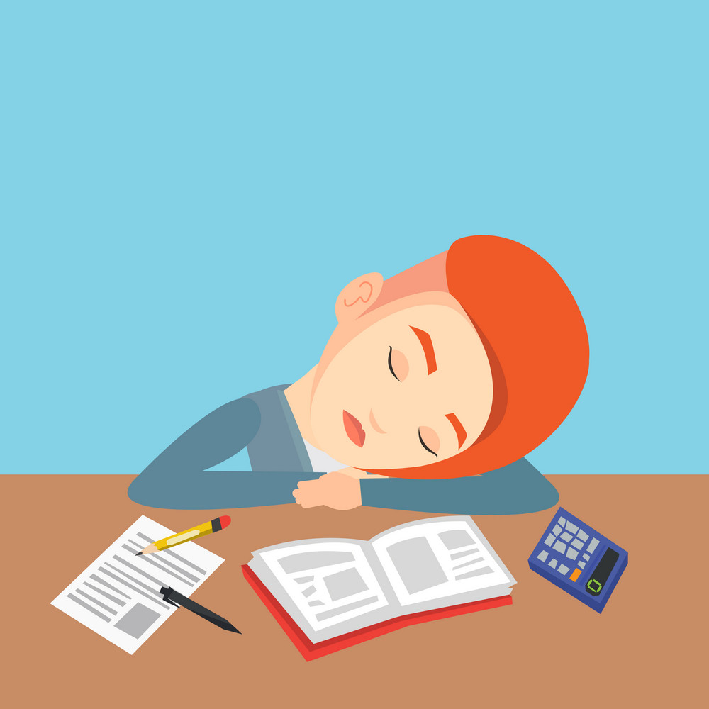 Fatigued caucasian student sleeping at the desk with books. Tired female student sleeping after learning. Young woman sleeping among books at the table. Vector flat design illustration. Square layout.