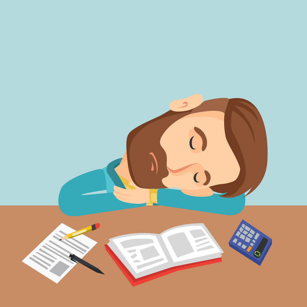 Fatigued caucasian student sleeping at the desk with books. Tired hipster student sleeping after learning. Young man sleeping among books at the table. Vector flat design illustration. Square layout.