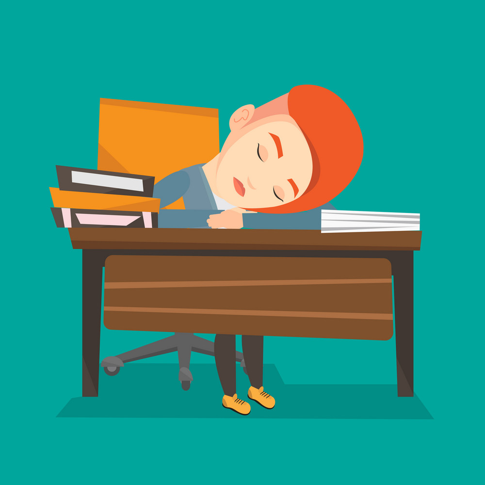 Fatigued student sleeping at the desk with books. Tired student sleeping after learning. Girl sleeping among the books at the table. Education concept. Vector flat design illustration. Square layout.