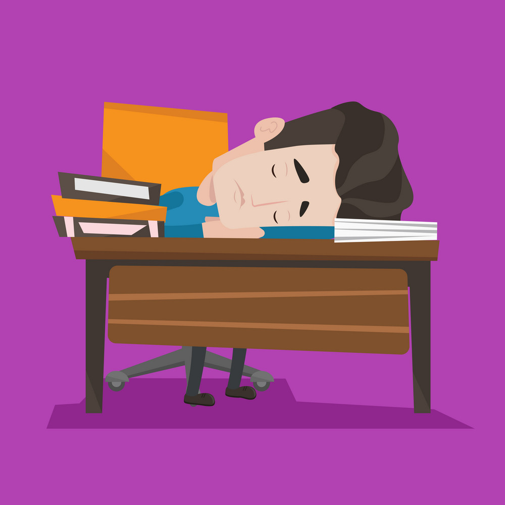 Fatigued student sleeping at the desk with books. Tired student sleeping after learning. Man sleeping among the books at the table. Concept of education. Vector flat design illustration. Square layout