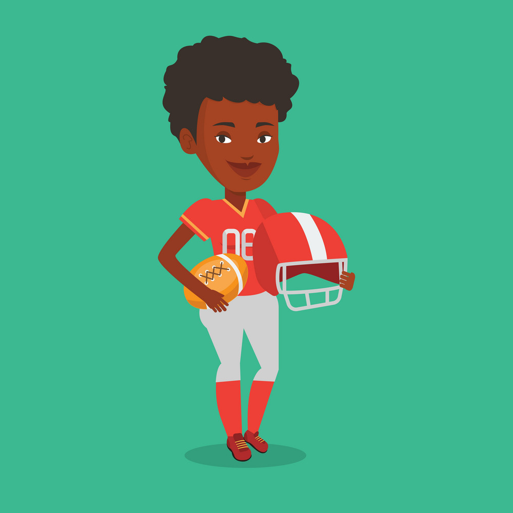 Female african-american rugby player holding ball and helmet in hands. Full length of young smiling female rugby player in uniform. Vector flat design illustration. Square layout.