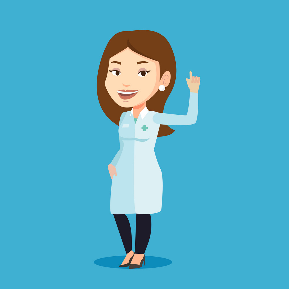 Female doctor in medical gown showing finger up. Young caucasian doctor with finger up. Woman in doctor uniform pointing finger up. Vector flat design illustration. Square layout.