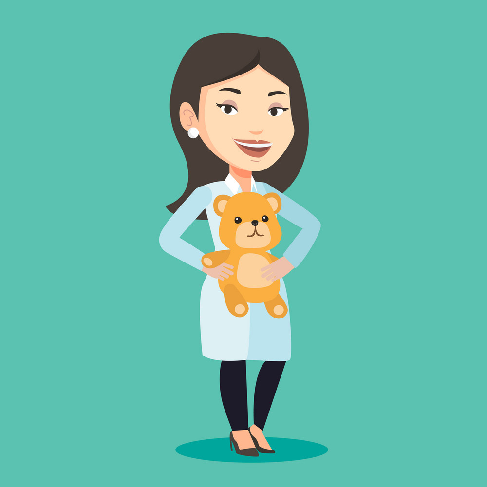 Female pediatrician doctor holding a teddy bear. Female pediatrician doctor standing with a teddy bear. Young caucasian pediatrician in medical gown. Vector flat design illustration. Square layout.