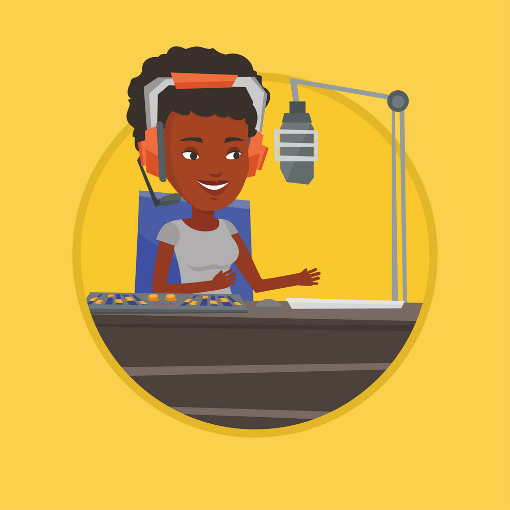 Female radio dj working in front of microphone, computer and mixing console on radio. Dj in headset working on a radio station. Vector flat design illustration in the circle isolated on background.