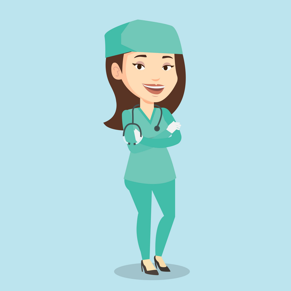 Female surgeon standing with arms crossed. Young caucasian confident surgeon in medical uniform. Happy female surgeon with stethoscope on her neck. Vector flat design illustration. Square layout.