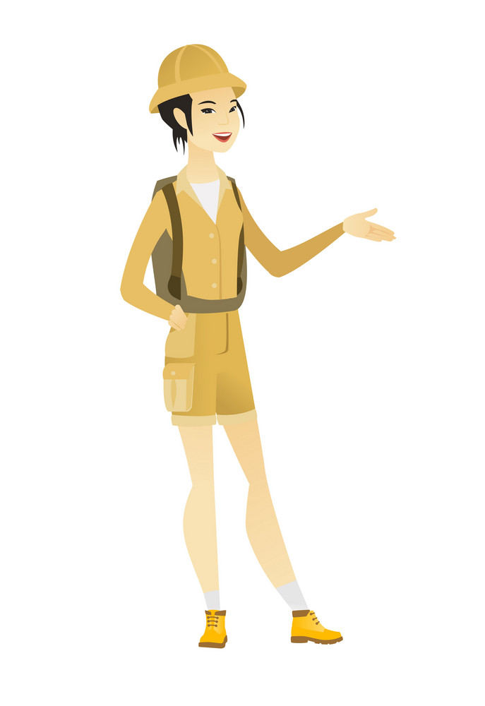 Female traveler with arm out in a welcoming gesture. Full length of welcoming young asian traveler. Traveler doing a welcome gesture. Vector flat design illustration isolated on white background.