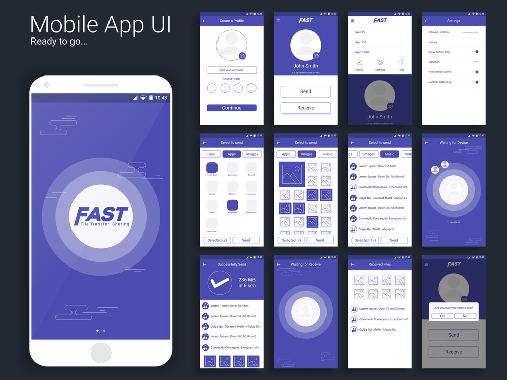 File Transfer And Sharing Mobile App Material Design UI UX And GUI - Mobile app design templates