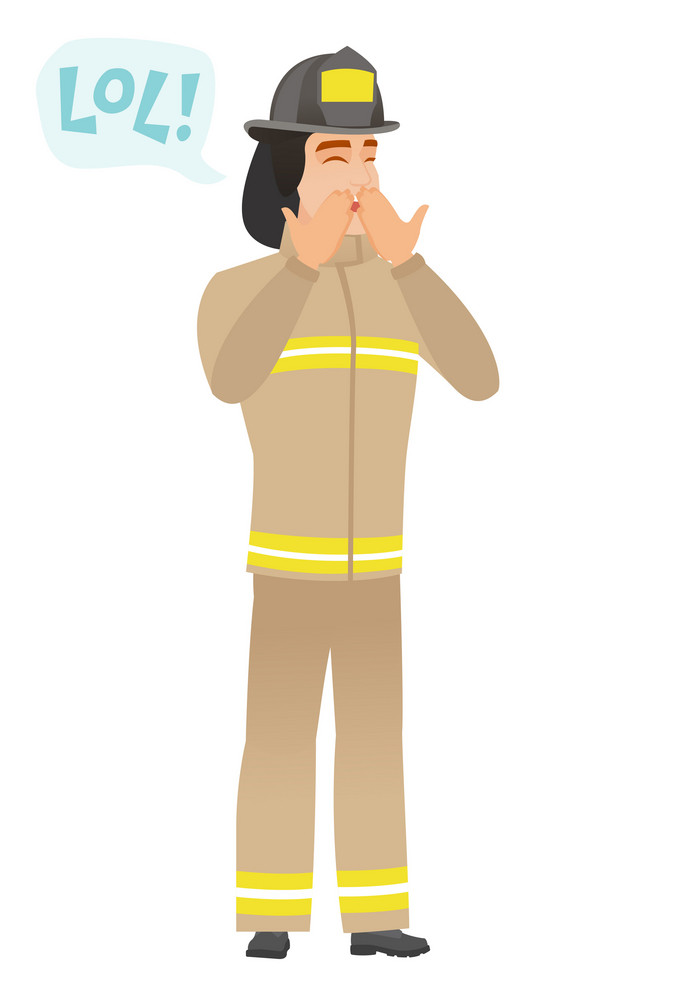 Firefighter in uniform laughing out loud. Firefighter and speech bubble with text - lol. Firefighter laughing out loud and covering mouth. Vector flat design illustration isolated on white background.