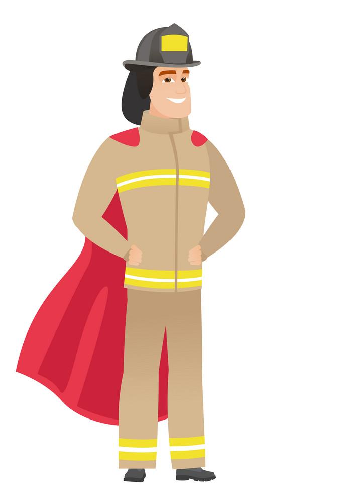 Firefighter wearing a red superhero cloak. Full length of firefighter dressed as superhero. Successful firefighter superhero in red cloak. Vector flat design illustration isolated on white background.