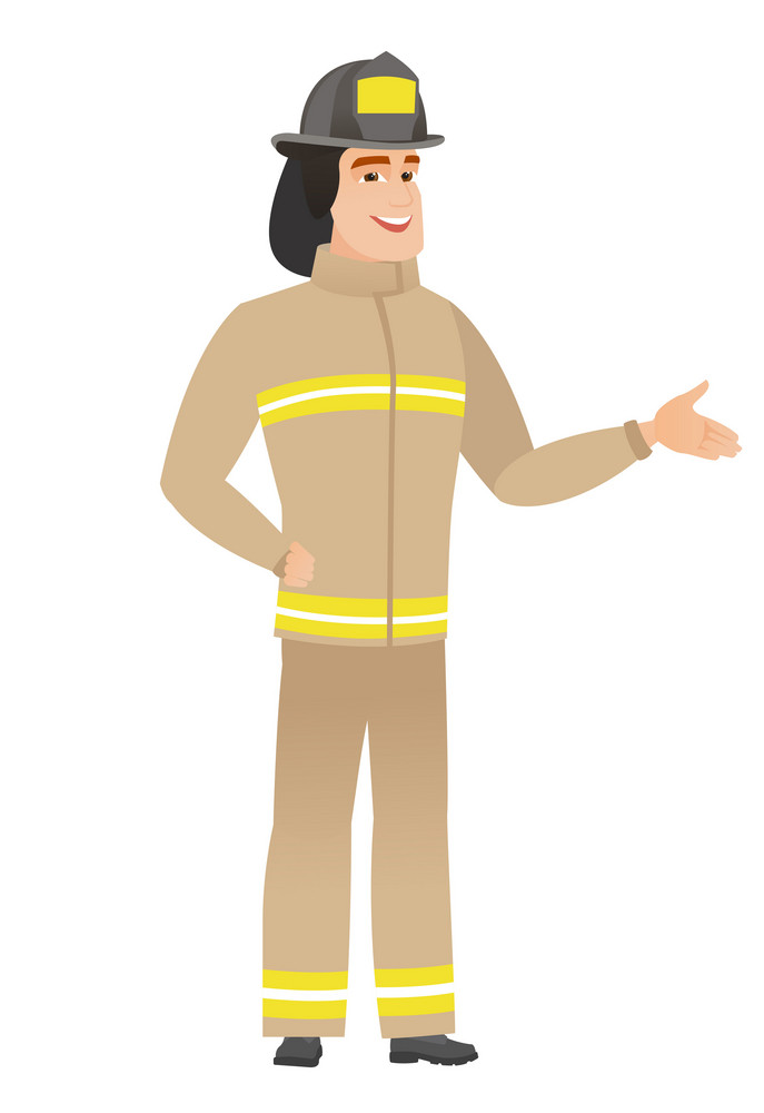 Firefighter with arm out in a welcoming gesture. Full length of welcoming young caucasian firefighter. Firefighter doing a welcome gesture. Vector flat design illustration isolated on white background