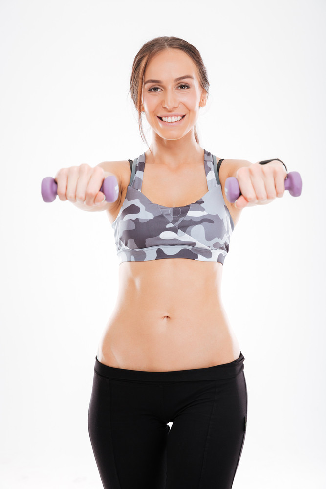 Fitness Girl With Dumbbells Front Portrait Looking At