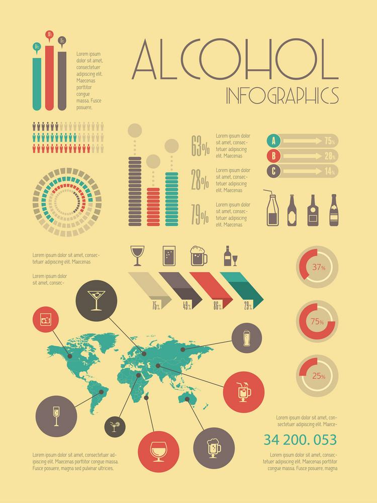 Flat Alcohol Infographic Elements plus Icon Set. Vector.