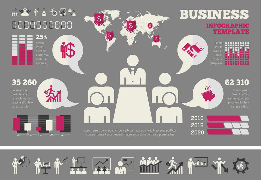 Flat Business Infographic Elements plus Icon Set. Vector.
