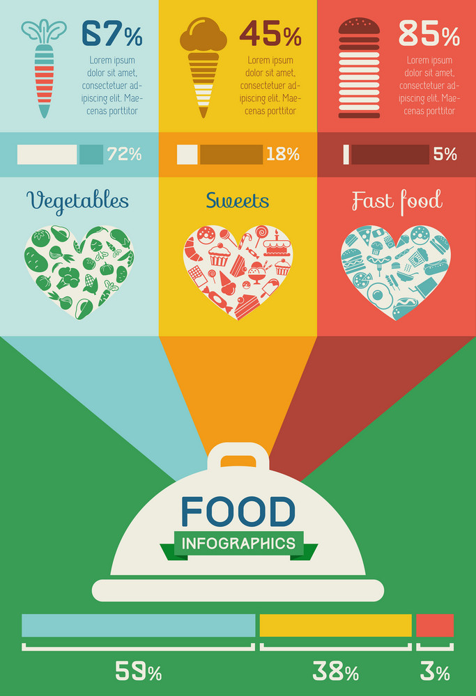Flat Food Infographic Elements plus Icon Set. Vector.