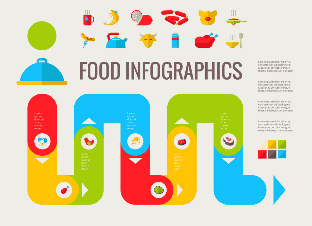 Food Infographic Template. Vector Customizable Elements.