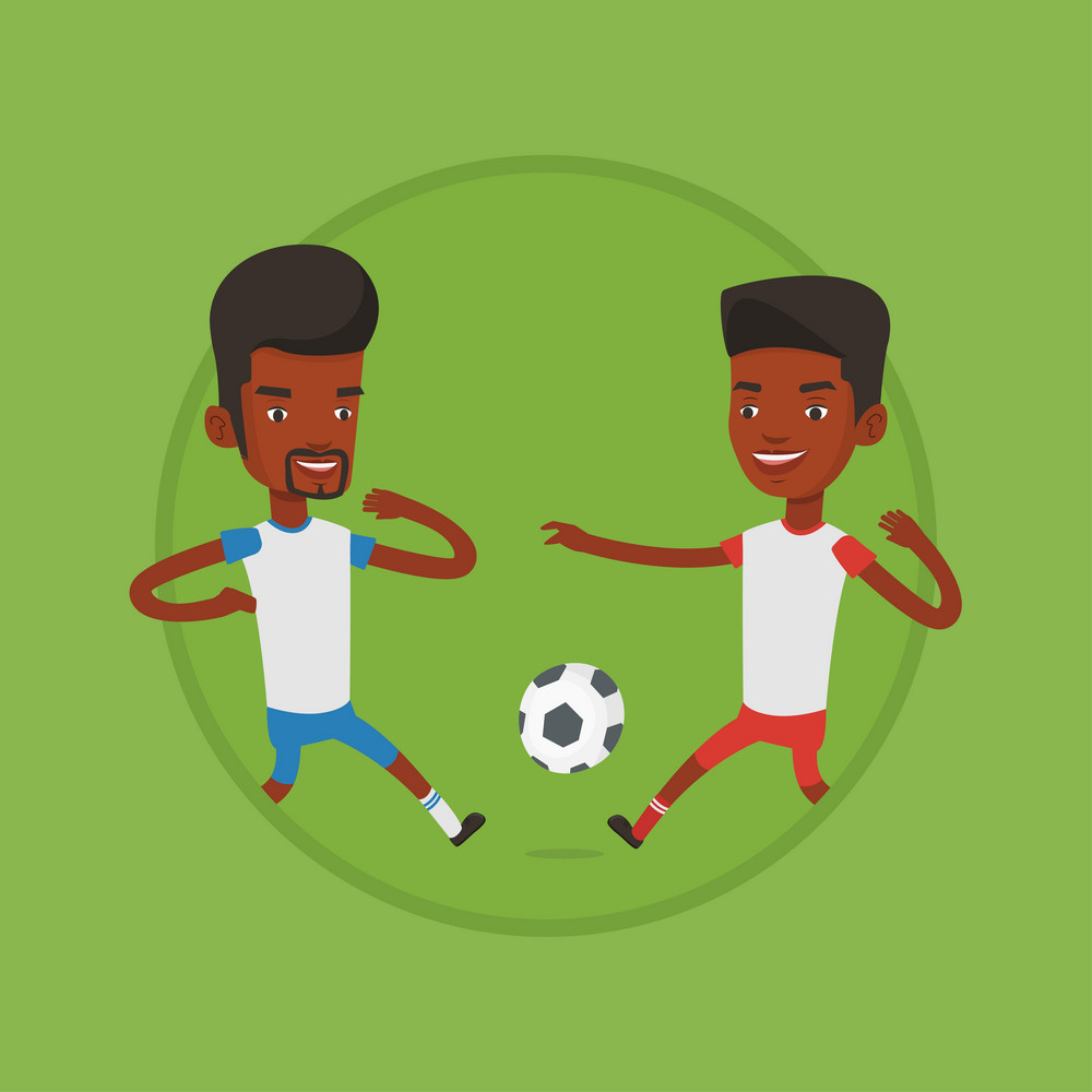 Football players in action during a champions league match. Soccer players fighting over control of ball during a football match. Vector flat design illustration in the circle isolated on background.