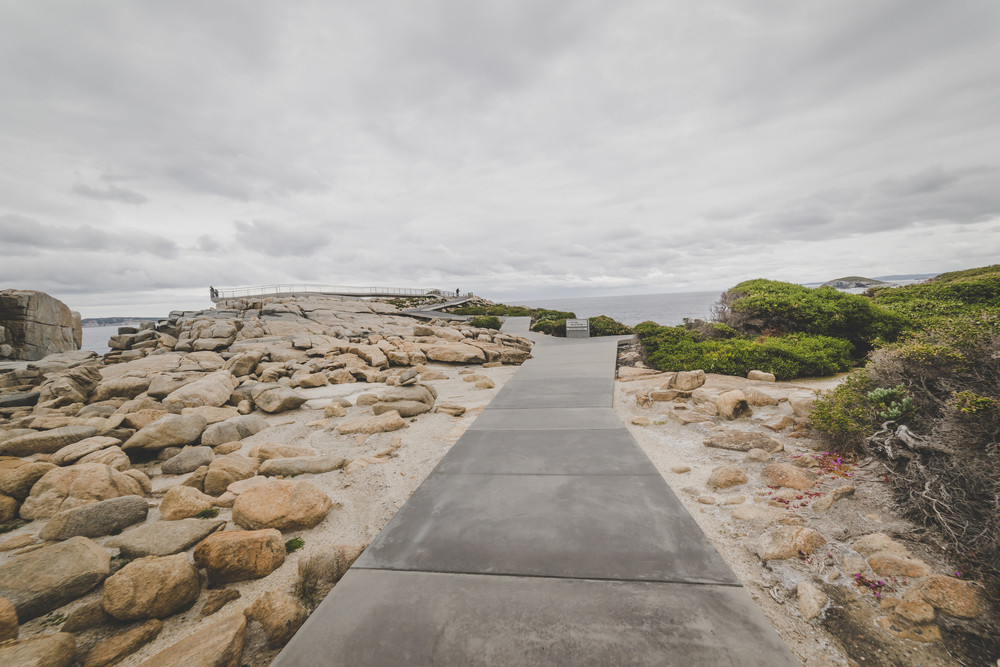 Footpath to the Gap a stone formation in Torndirrup National Park Albany Western Australia. vintage toning  filter add .