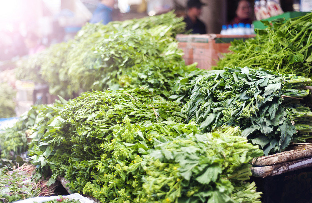 Fresh herbs on traditional street market in Sapa, Vietnam.