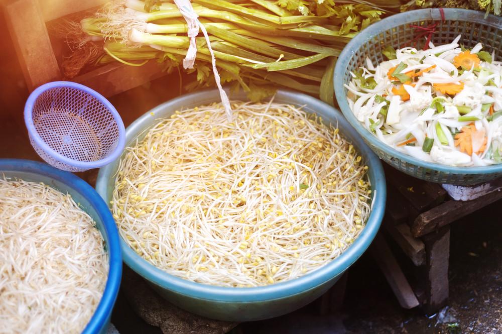 Fresh vegetable on traditional street market in Sapa, Vietnam.