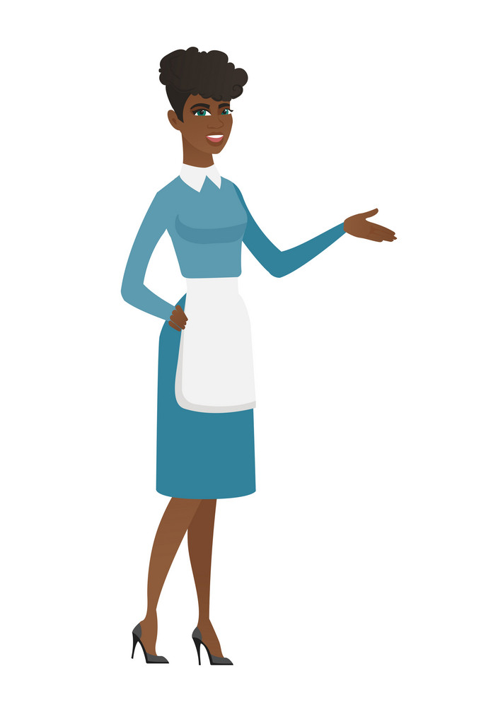 Friendly cleaner with arm out in welcoming gesture. Full length of welcoming african cleaner in uniform. Cleaner doing welcome gesture. Vector flat design illustration isolated on white background.