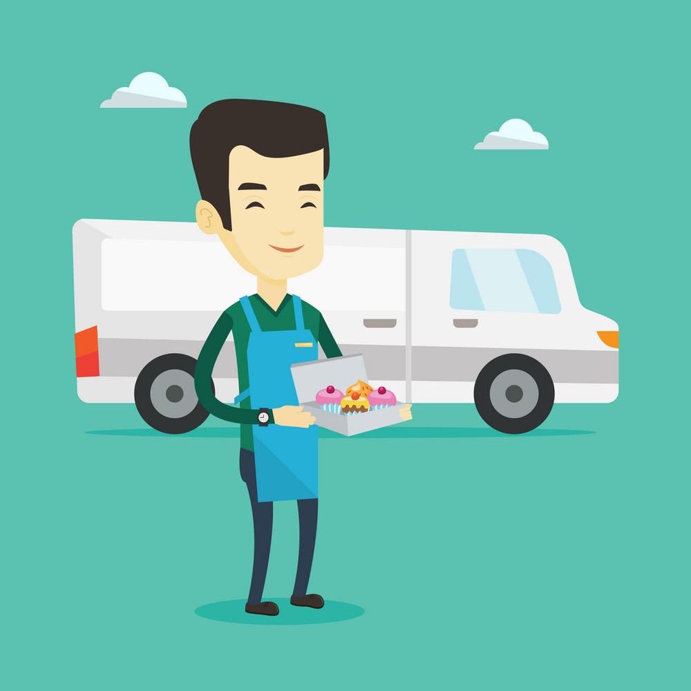 Friendly delivery courier holding a box of cakes. Asian baker delivering cakes. Young man with cupcakes standing on the background of delivery truck. Vector flat design illustration. Square layout.