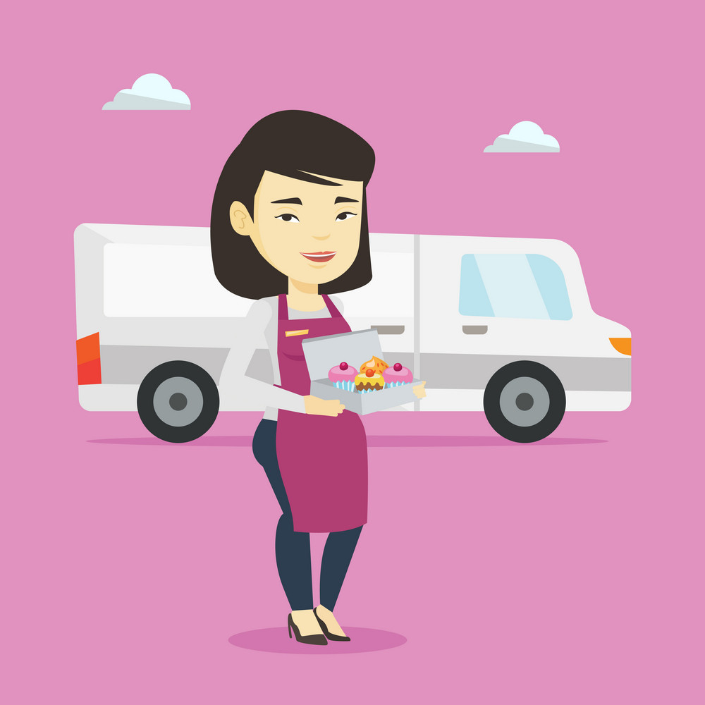 Friendly delivery courier holding a box of cakes. Asian baker delivering cakes. Young woman with cupcakes standing on the background of delivery truck. Vector flat design illustration. Square layout.