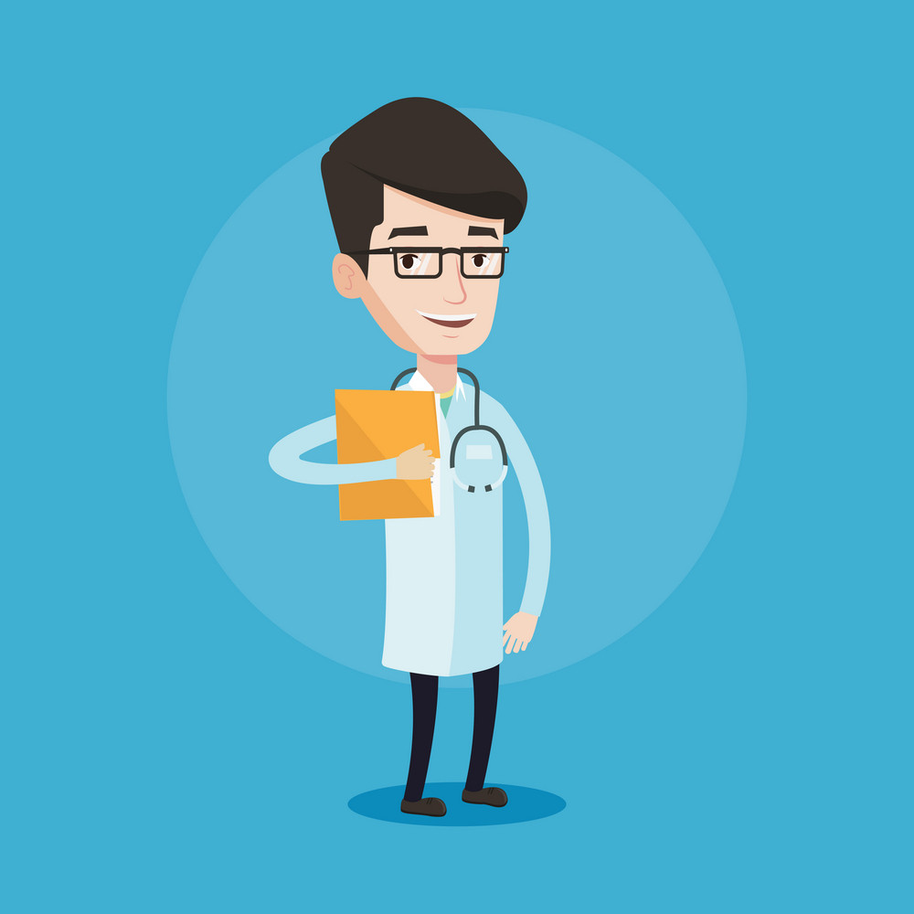 Friendly doctor with stethoscope and a file. Young doctor in medical gown carrying folder of patient or medical information. Vector flat design illustration isolated on blue background. Square layout.