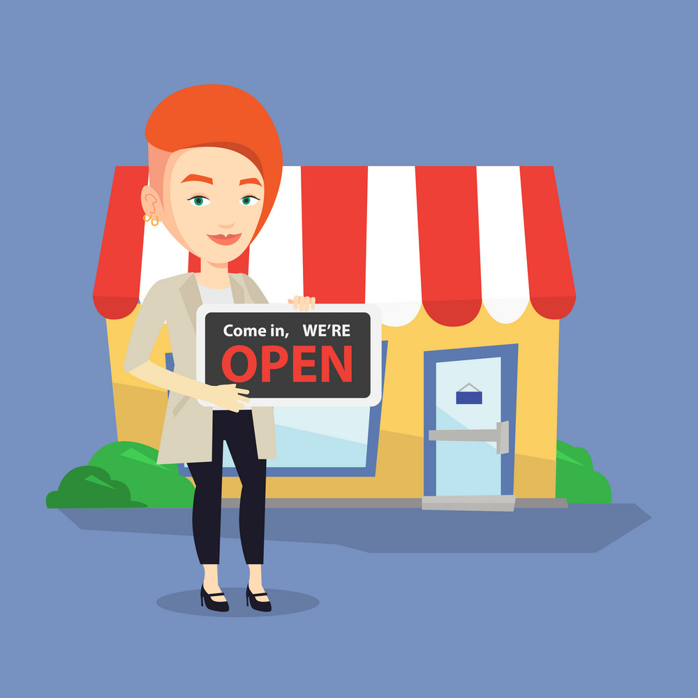 Friendly female shop owner holding open signboard. Cheerful female shop owner standing in front of small store. Woman inviting to come in her shop. Vector flat design illustration. Square layout.