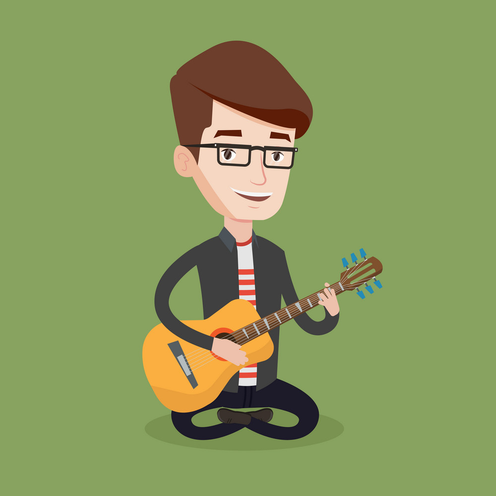 Friendly musician sitting with guitar in hands. Man playing an acoustic guitar. Guitarist practicing in playing guitar. Vector flat design illustration. Square layout.