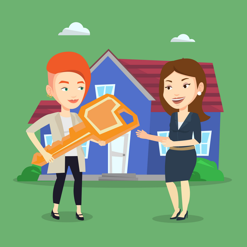 Friendly real estate agent giving key to a new owner of house. Caucasian real estate agent passing house keys to a new owner. Woman buying a new house. Vector flat design illustration. Square layout
