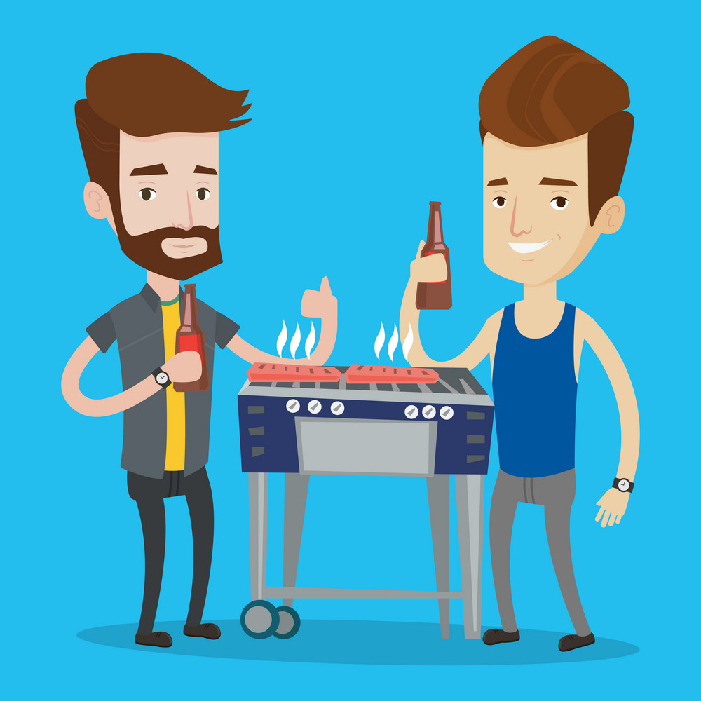 Friends preparing barbecue and drinking beer. Group of friends having fun at a barbecue party. Smiling caucasian male friends having a barbecue party. Vector flat design illustration. Square layout.
