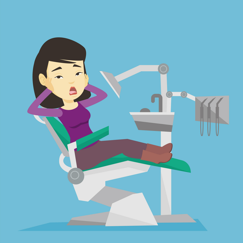 Frightened asian patient at dentist office. Scared young woman in dental clinic. Frightened woman visiting dentist. Afraid woman sitting in dental chair. Vector flat design illustration. Square layout