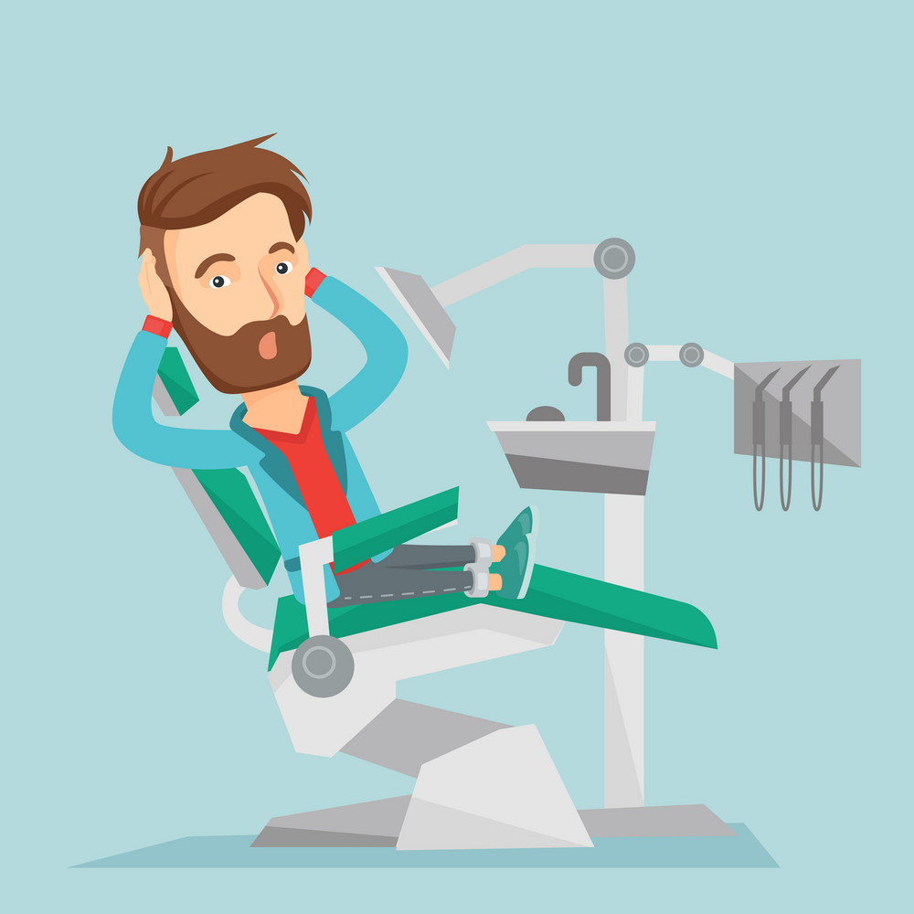 Frightened caucasian patient at dentist office. Scared young man in dental clinic. Man visiting dentist. Afraid hipster man sitting in dental chair. Vector flat design illustration. Square layout.
