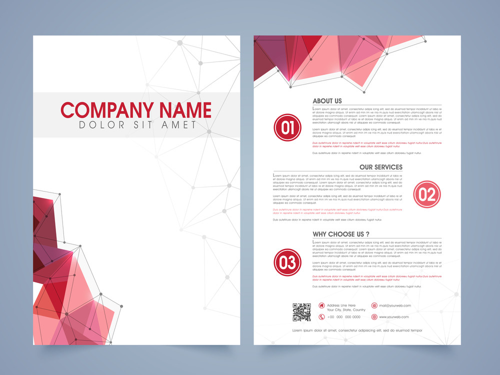 front and back page presentation of a professional flyer template or brochure for corporate sector