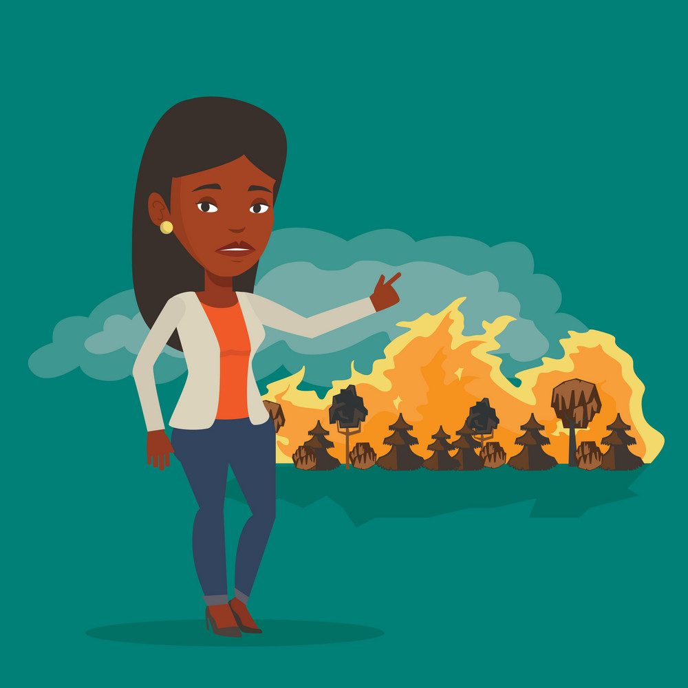 Frustrated woman standing on the background of forest fire. An african-american woman pointing at forest in fire. Concept of environmental destruction. Vector flat design illustration. Square layout.