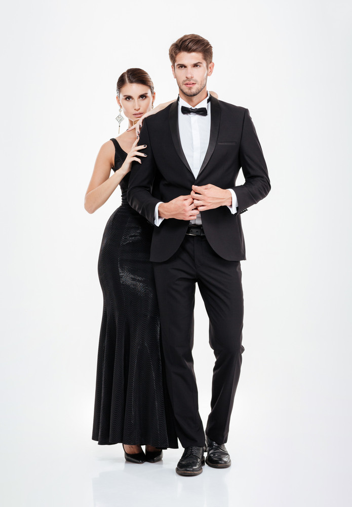 Full length business couple. white background