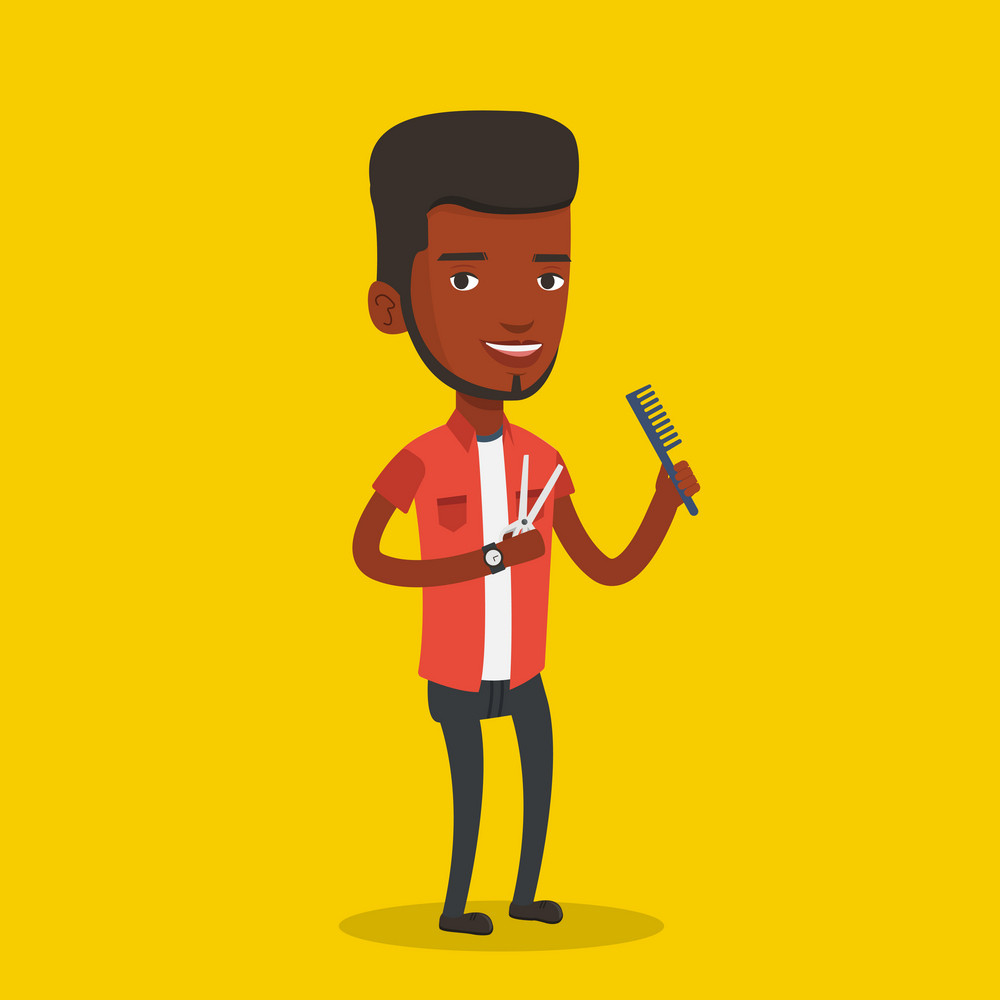 Full length of african-american hairdresser holding comb and scissors in hands on yellow background. Professional hairdresser ready to do a haircut. Vector flat design illustration. Square layout.