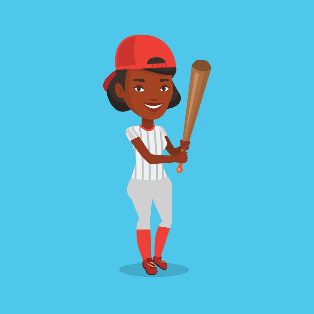 Full length of young african-american baseball player in uniform. Professional baseball player standing with a bat. Cheerful baseball player in action. Vector flat design illustration. Square layout.