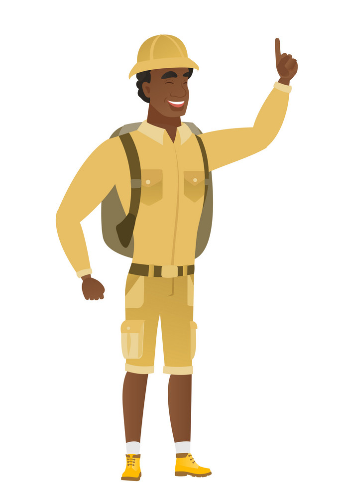 Full length of young african traveler pointing his finger up. Excited traveler pointing with his finger. Traveler with finger pointing up. Vector flat design illustration isolated on white background.