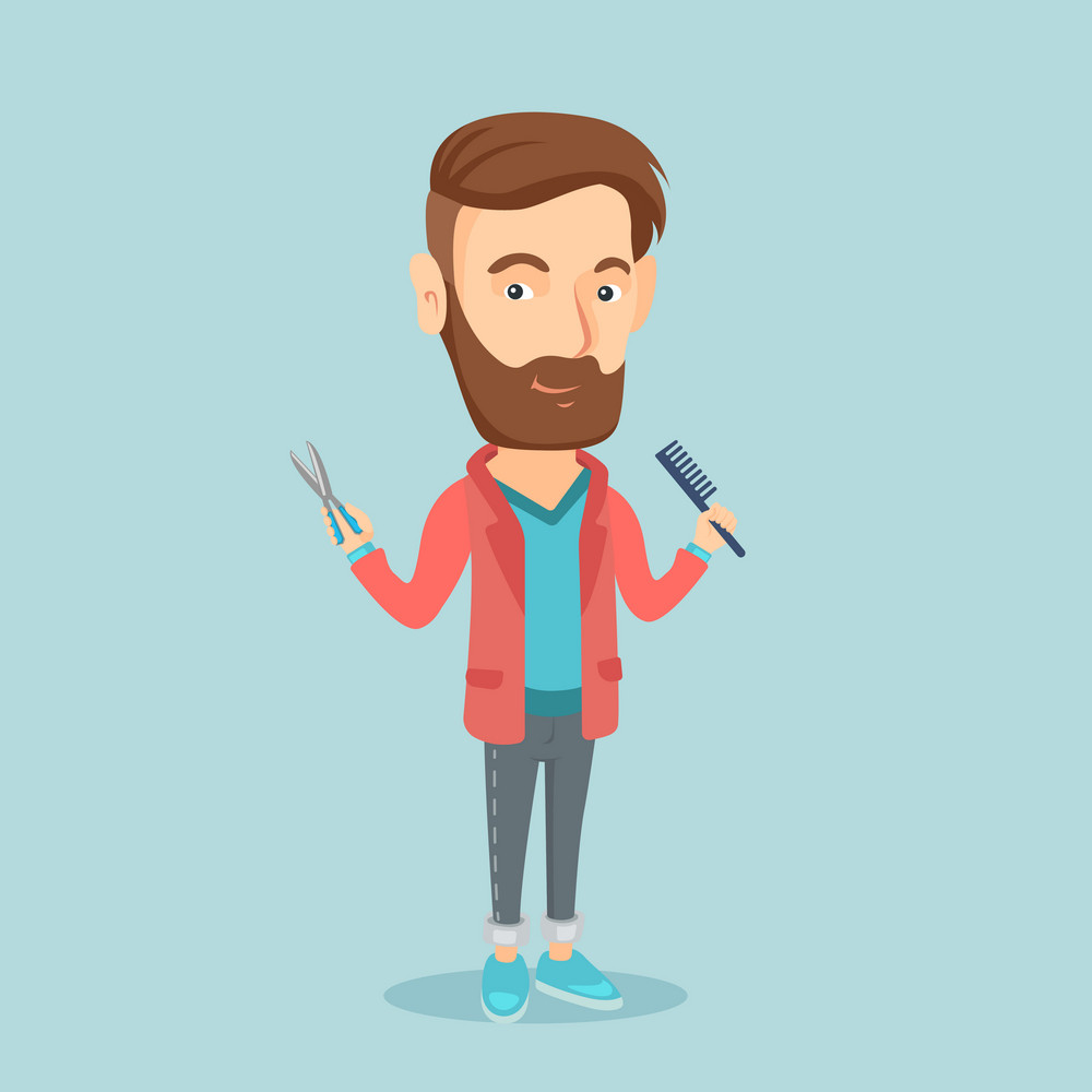 Full length of young hipster barber with beard holding comb and scissors in hands. Professional barber ready to do a haircut. Vector flat design illustration. Square layout.