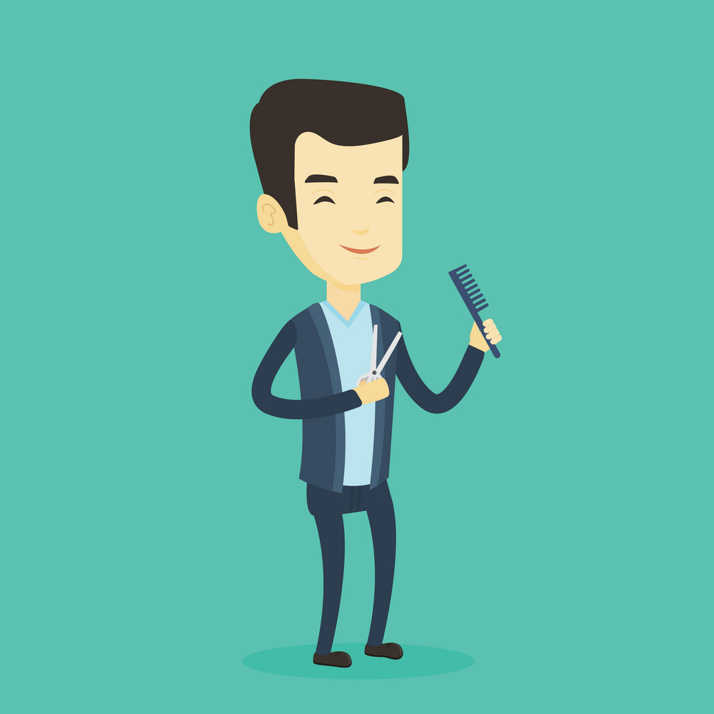 Full length of young smiling asian barber holding comb and scissors in hands on a blue background. Professional happy barber ready to do a haircut. Vector flat design illustration. Square layout.