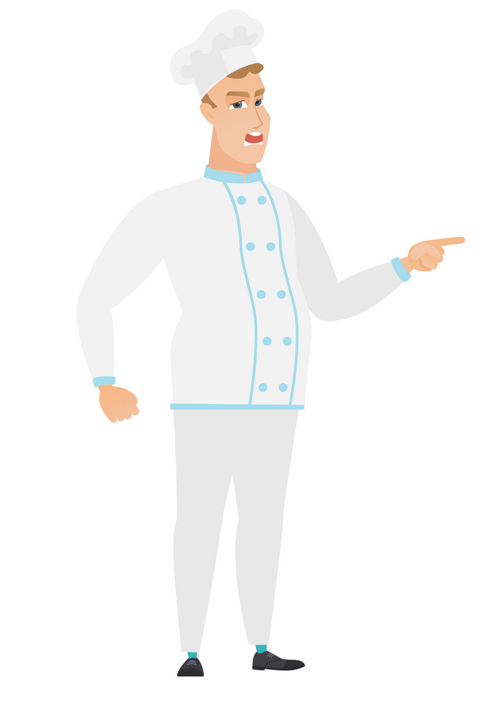 Furious chef cook screaming and pointing his finger to the right. Full length of aggressive chef cook screaming and shaking his finger. Vector flat design illustration isolated on white background.