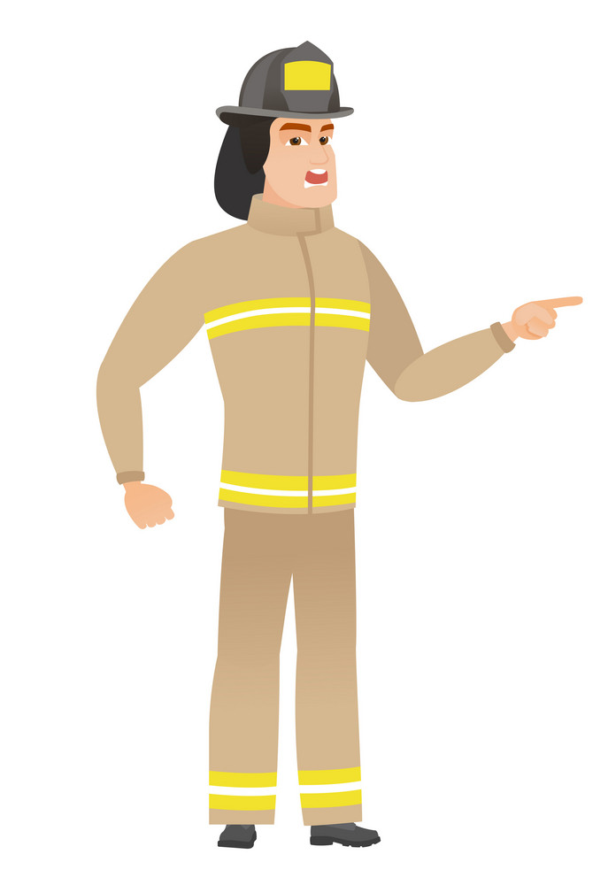 Furious firefighter screaming and pointing his finger to the right. Full length of aggressive firefighter screaming and shaking his finger. Vector flat design illustration isolated on white background