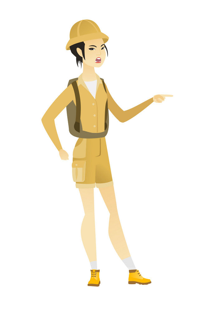 Furious traveler screaming and pointing her finger to the right. Full length of aggressive traveler screaming and shaking her finger. Vector flat design illustration isolated on white background.