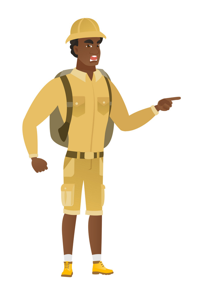 Furious traveler screaming and pointing his finger to the right. Full length of aggressive traveler screaming and shaking his finger. Vector flat design illustration isolated on white background.