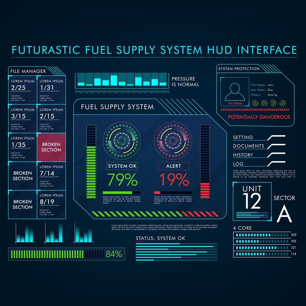 Futuristic Fuel Supply System HUD Interface layout, Big set of