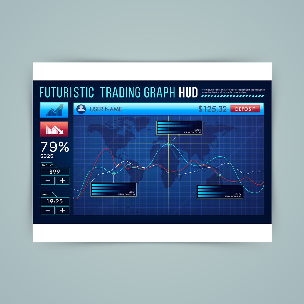 Futuristic Head Up Display for business apps, infographic interface screen, analysis statistical trending graphs presentation.