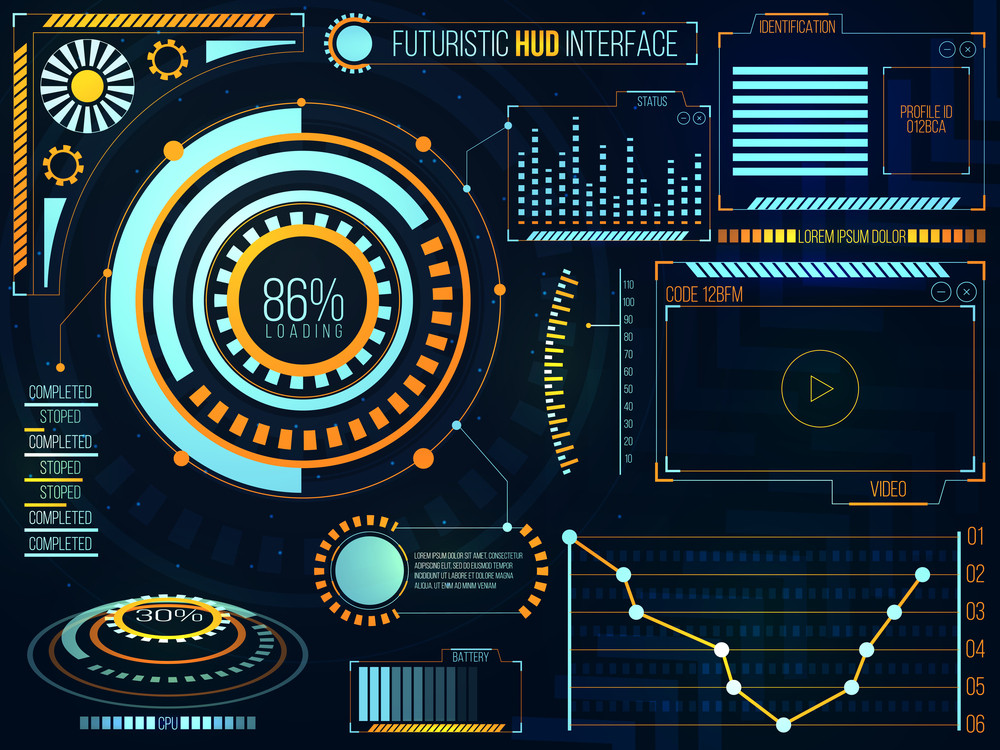 Futuristic HUD Interface UI, UX design, Big set of infographic elements, Abstract virtual technology background with statistical bars, graphs, charts and video log, Business vector illustration.