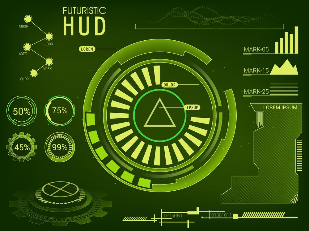 futuristic user interface hud ui ux design big set of